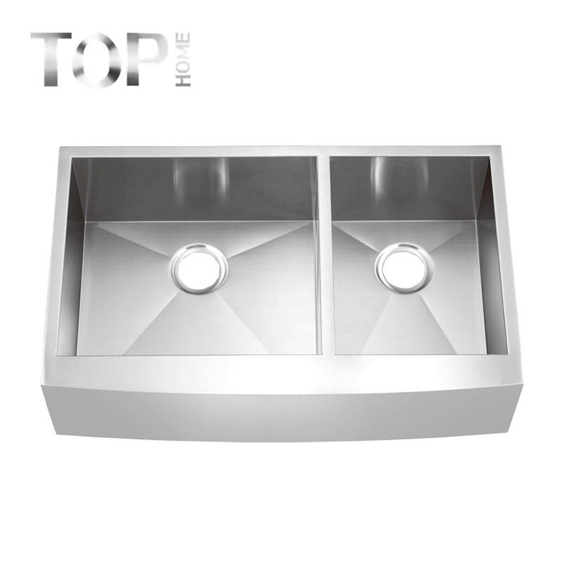 THAP3620BL Farmhouse Apron-Front Stainless Steel 36 inches Double Bowl Kitchen Sink