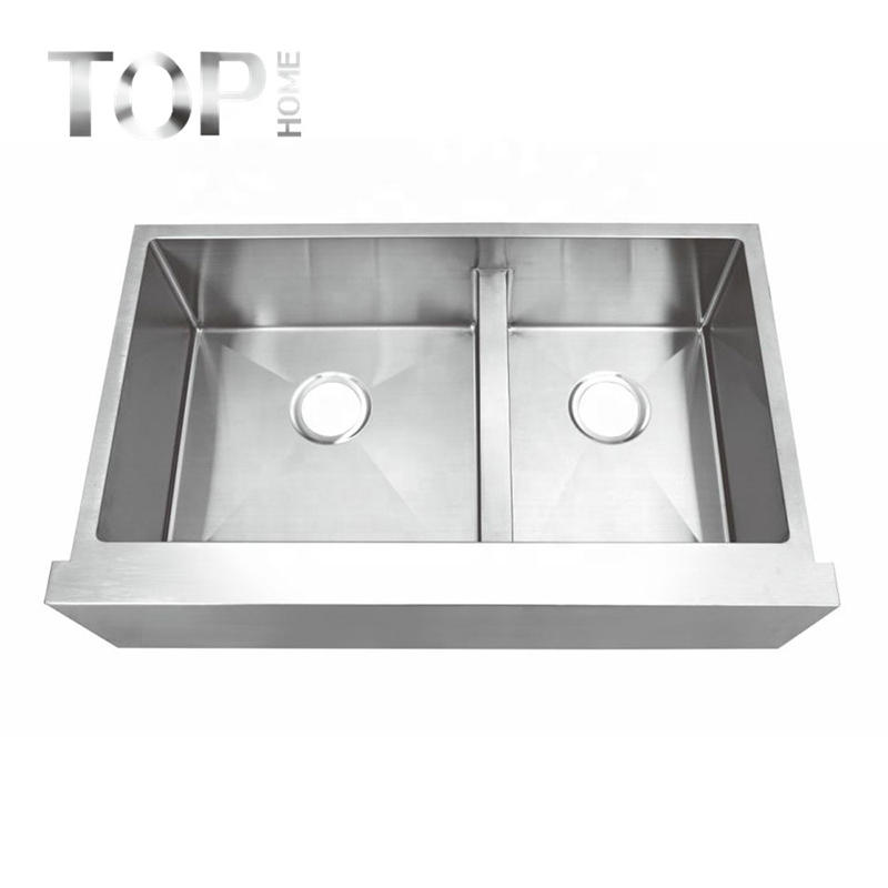 THAPR3521BL Apron-Front Stainless Steel 16/18-Gauge Workstation Double Bowl Farmhouse Kitchen Sink
