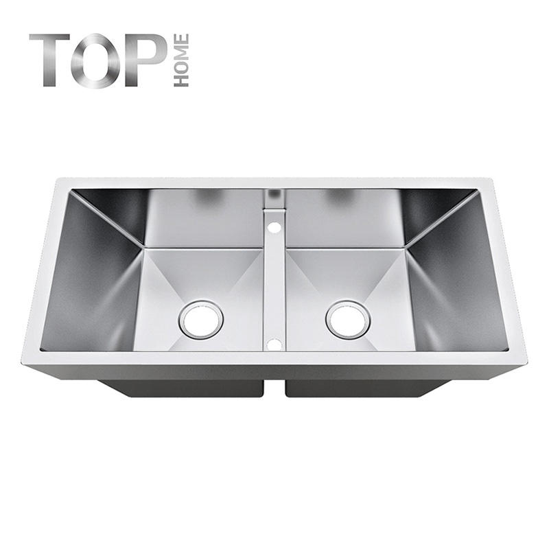 TR3818A Handmade 38 Inch 16 /18Gauge Top mount Double Bowls Stainless Steel Kitchen Sink