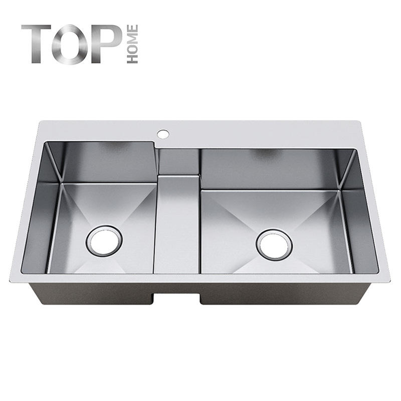 TR3620BL 36-inch 16 Gauge Top mount 60/40 Double Bowl Stainless Steel Kitchen Sink