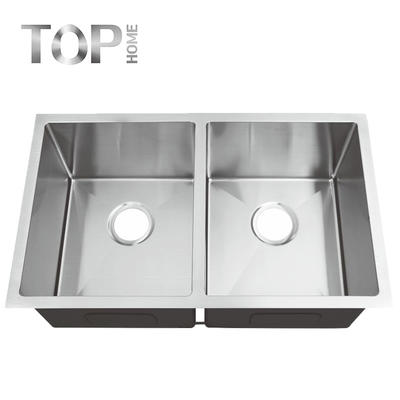 UM3219A Stainless steel 304 modern design double bowl handmade washing kitchen sink with cupc certification