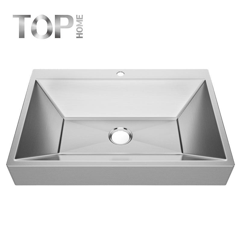 APBR3222S Brushed Stainless Steel Single Bowl Rectangular 16/18G handmade Bathroom Sink with CUPC certification