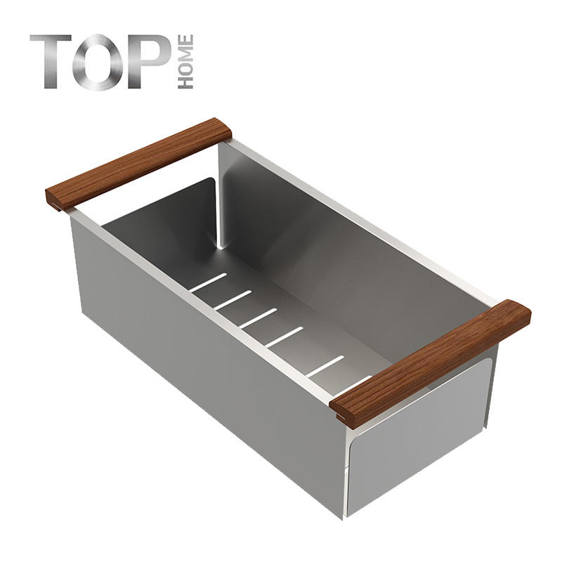 New Products Wholesales Washing Colander with handle , the sets of Handmade stainless steel Kitchen Sink