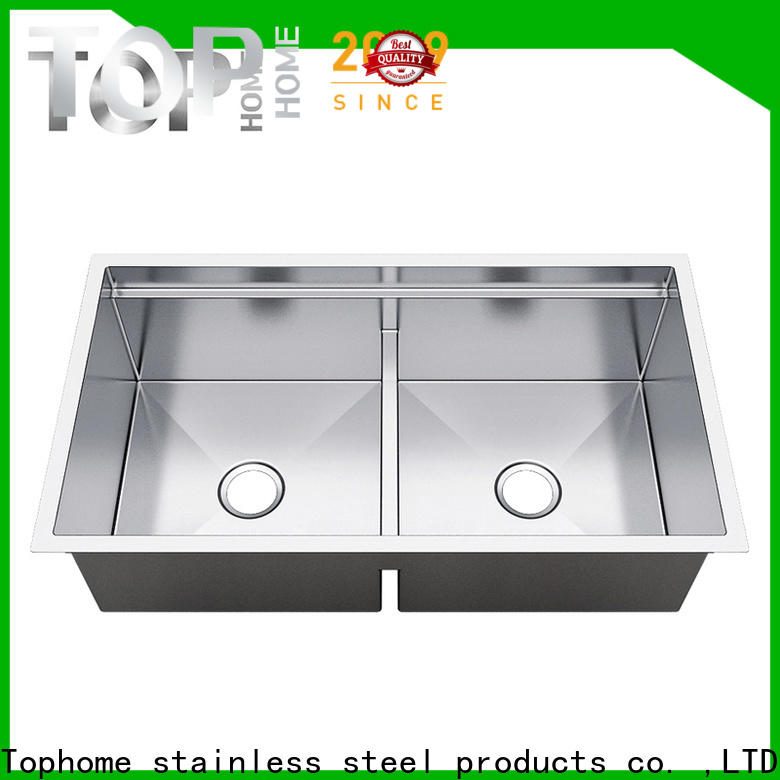 Top Home handmade double bowl kitchen sink metal for restaurant