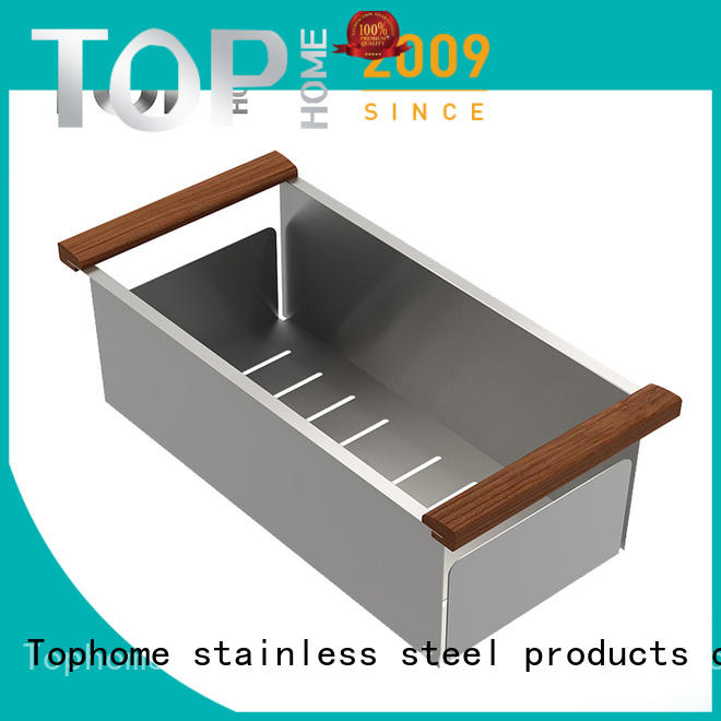 Top Home durable stainless steel sink colander with handle for outdoor for for for countertop