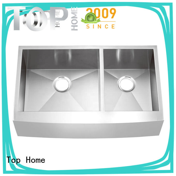 Top Home double stainless steel farmhouse sink dewatering rapidly for outdoor