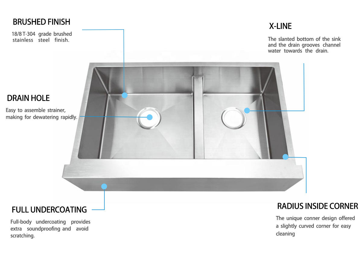 Top Home good quality stainless farm sink dewatering rapidly for outdoor