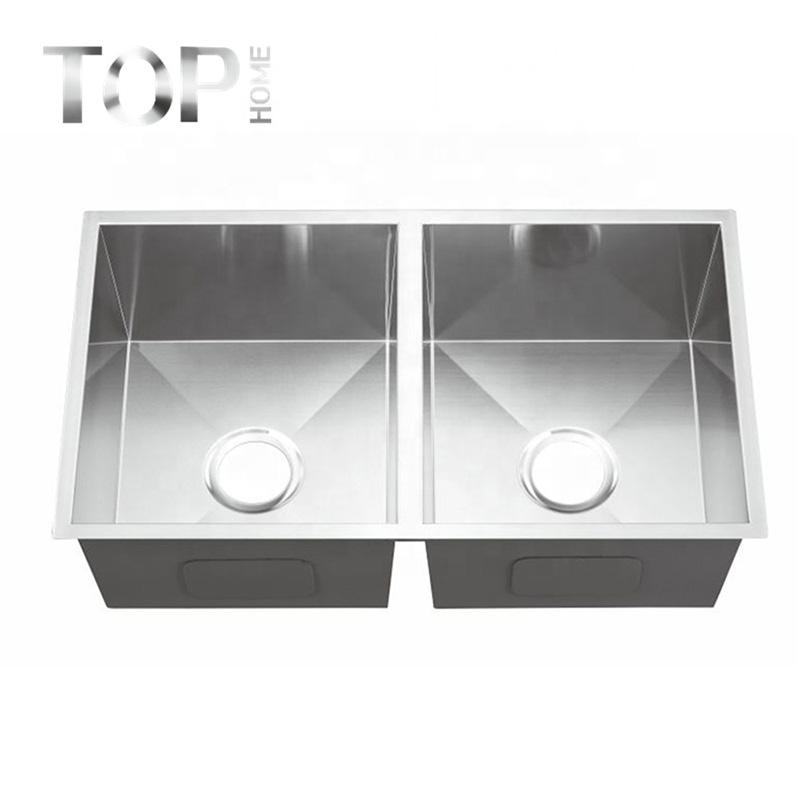 THRA3018A undermount kitchen sink with double bowls handcraft in 30'' inches