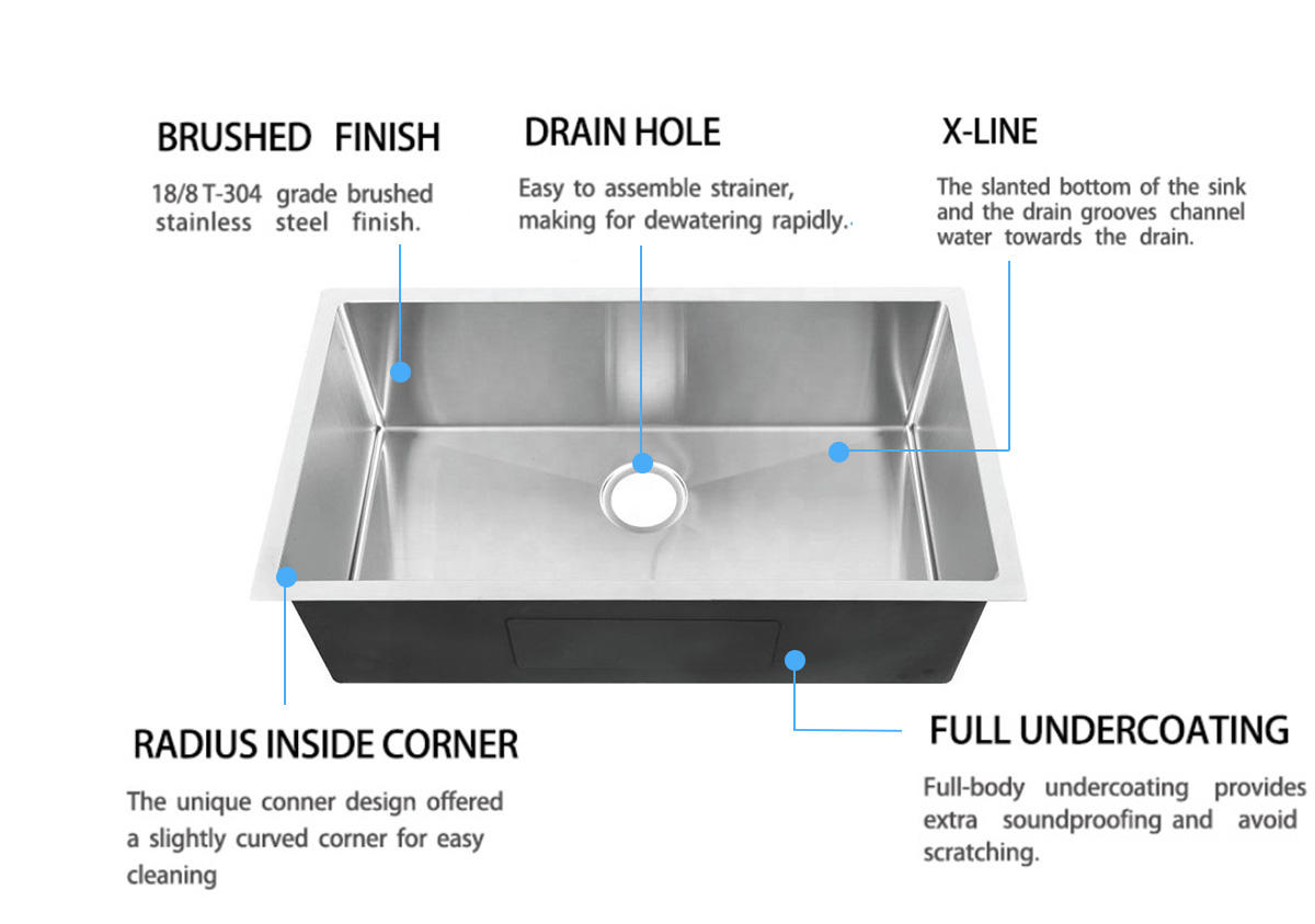 Top Home utility commercial stainless steel sink durability kitchen