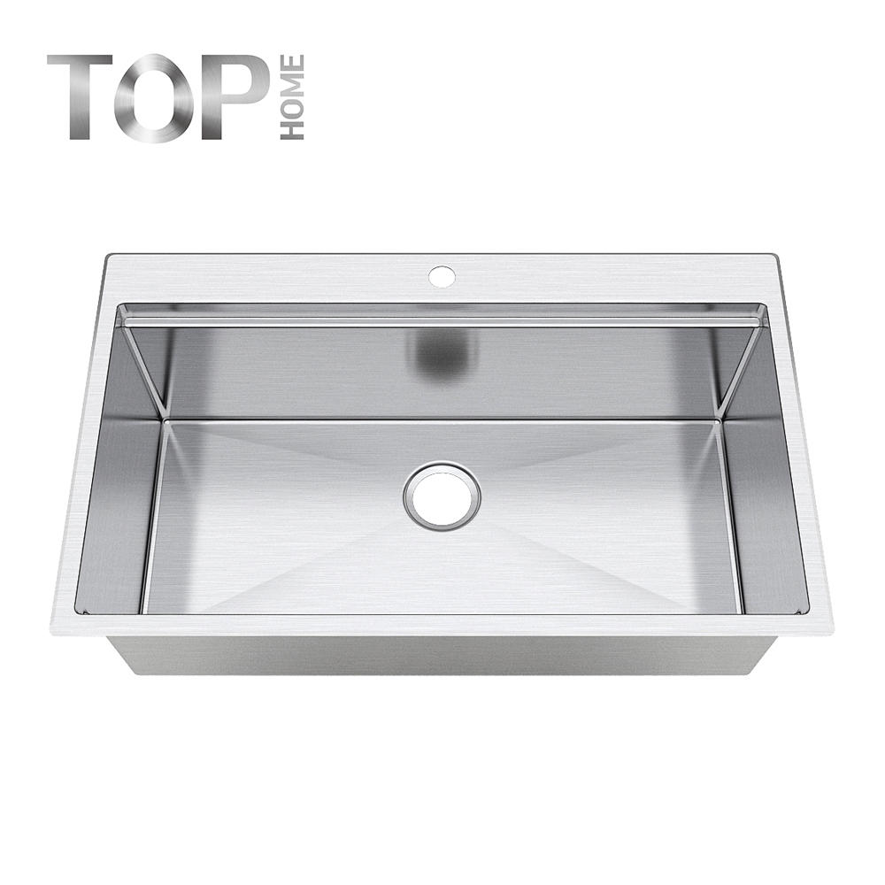 T3320 multifunctional stainless steel sink single bowl hanmade basin for over mount