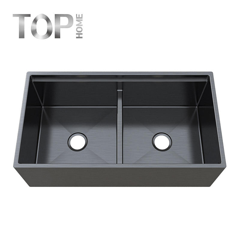 APR3619D pvd black/ rose gold/stainless steel sink kitchen farmhouse double bowls