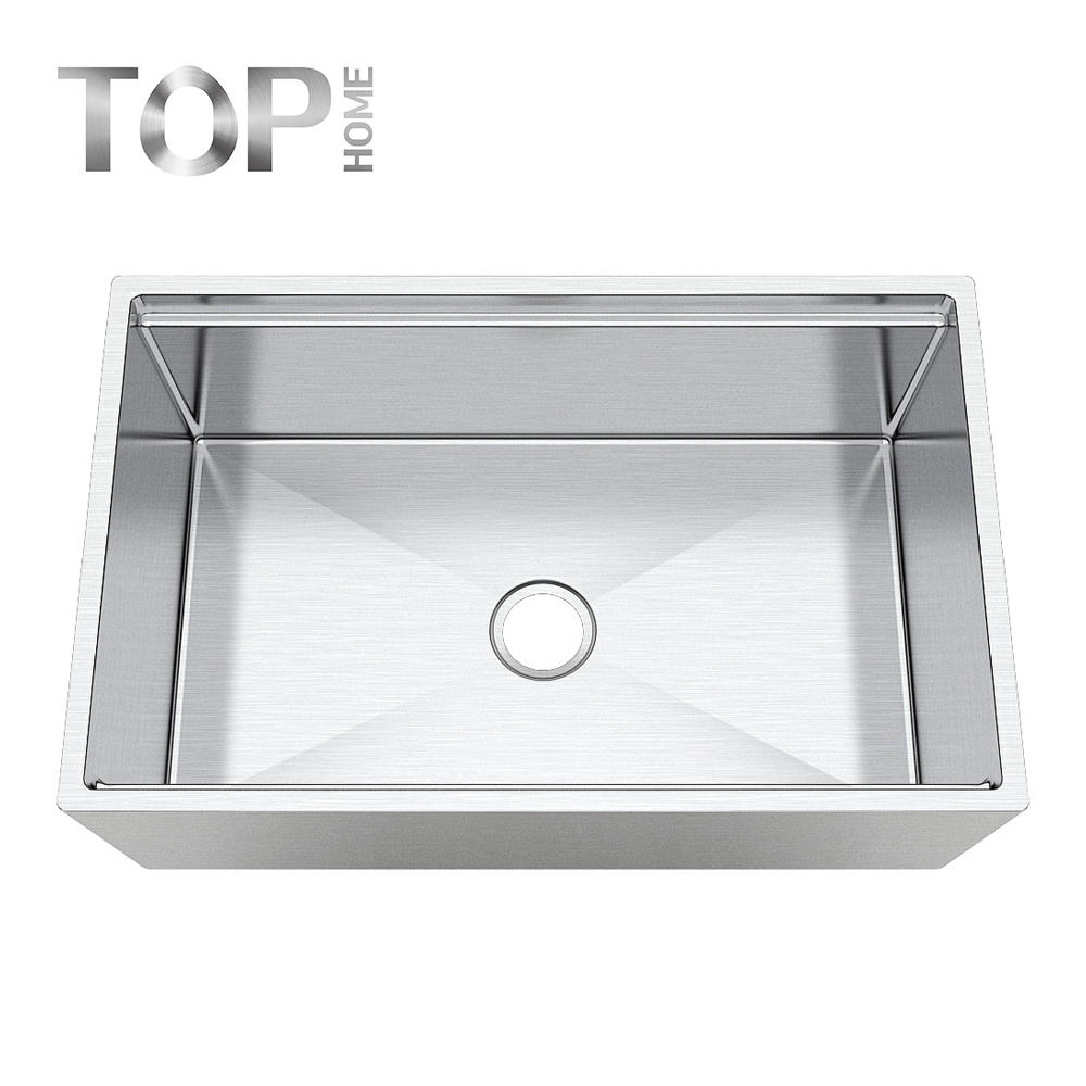 APR3019C Round Apron Single Bowl In 30 Inches with ledge stainless steel sink with gold color