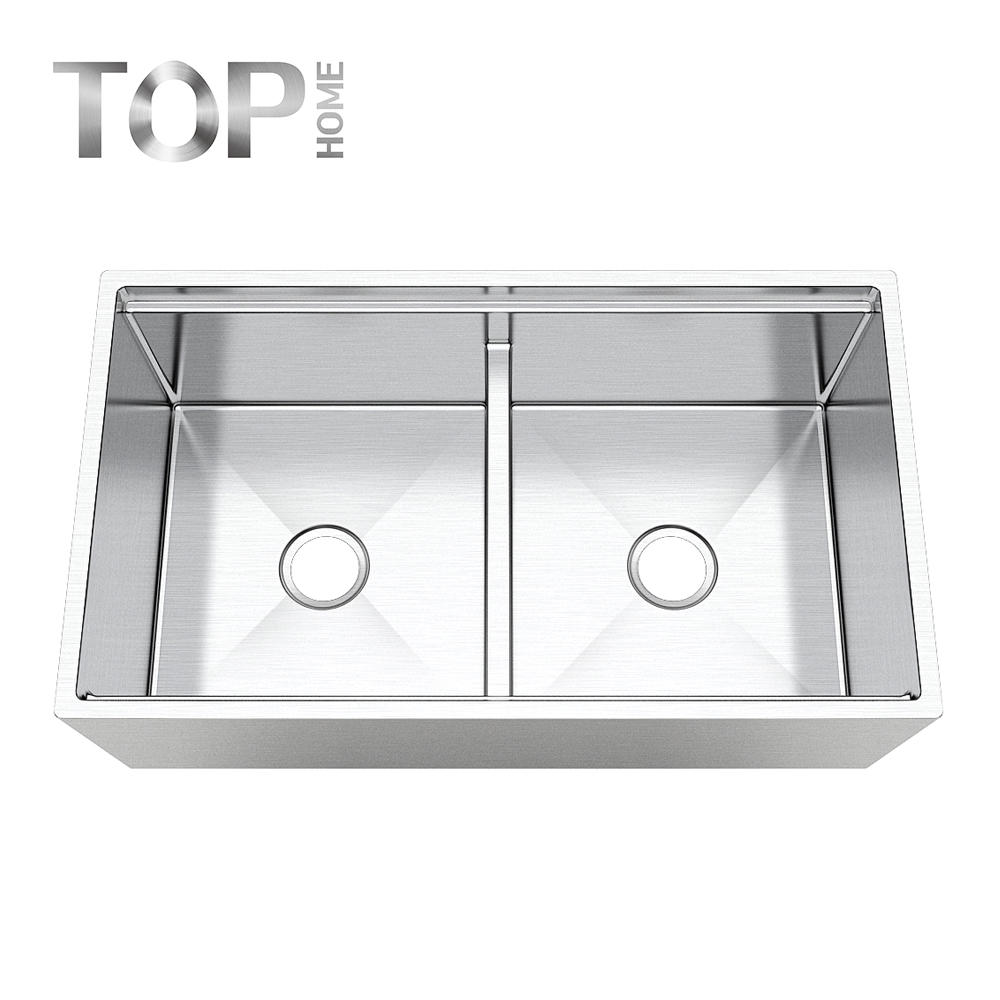 APR3319D Apron front farmhouse sink Handcrafted by skilled Double bowls