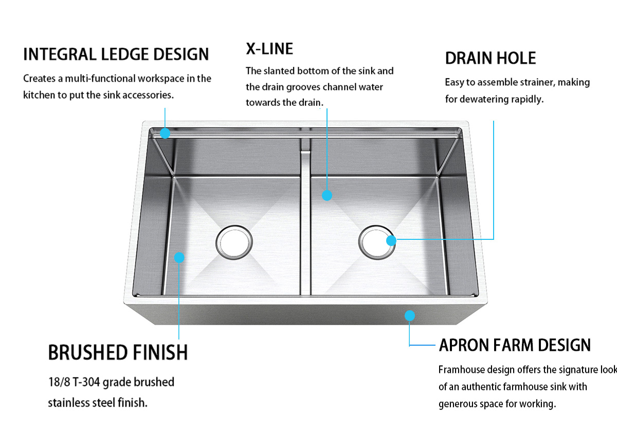 inches kitchen apron sink easy cleanning for restaurant Top Home-6