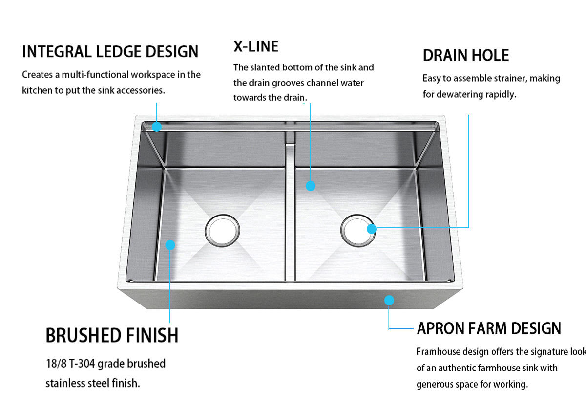 inches kitchen apron sink easy cleanning for restaurant Top Home