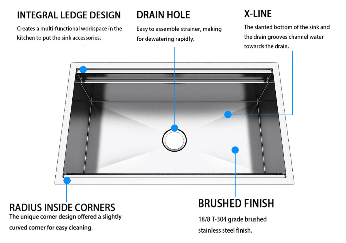 Top Home commercial stainless steel sink metal for countertop