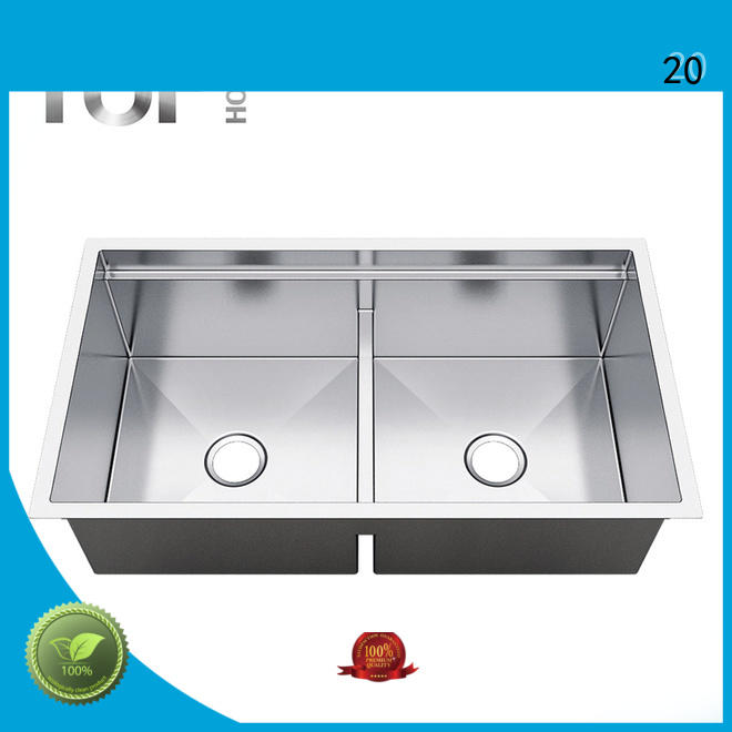 Top Home handmade stainless steel double kitchen sink restaurant